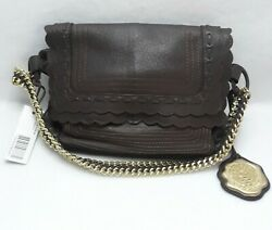VINCE CAMUTO Chocolate Soft Brown Leather Flap Shoulder Bag Tote Hobo Gold Chain $60.00