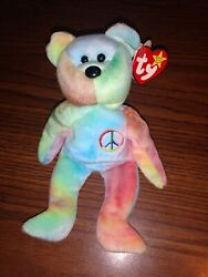 Extremely Rare Retired 1996 Ty Beanie Baby Babies Peace Bear Mistakes