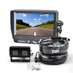 Dual Lens Reverse Backup Camera + 7'' Rear View Monitor For Truck Bus Rv Trailer