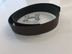 Hermes H Belt Buckle And Reversible Leather Strap Tan/olive