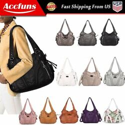 Angelkiss Women Purses Satchel Handbags Soft Washed Leather Shoulder Tote Bag $32.99