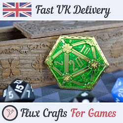 D2 Gold Metal Coin Rpg Dice D20 Dnd Green Dragon Tabletop Dungeons Flux Crafts