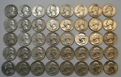 Starter Set Of 40 Different Silver Washington Quarters 1948-64 = Nice Coins