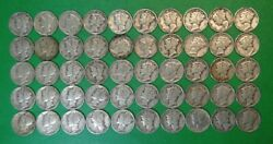 Roll Of 50 Circulated 1945 Mercury Silver Dimes