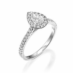 2 Ct Anneau Fianandccedilailles Diamant Poire Forme Coupe H / Si2 14k Blanc Or Taille 6