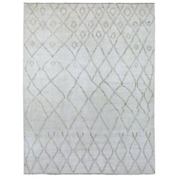 9and0392x11and0399 Hand Knotted Ivory Shabby Chic Moroccan Berber Pure Wool Rug R67010