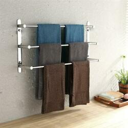 Three Stagger Layers Towel Rack Stainless Steel Bars Bathroom Accessories Set