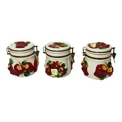 Vintage Kmc Embossed Apple Ceramic Canisters, Retro Kitchen Containers,