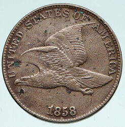 1858 United States Usa Flying Eagle And Wreath Antique Vintage Cent Coin I89373