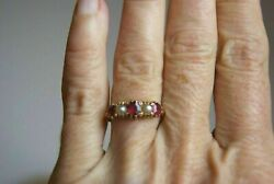 1.10ct Round Cut Red Ruby And Pearl With 14k Rose Gold Over Antique Victorian Ring