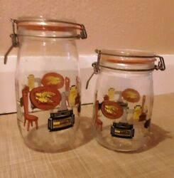 Vintage Set Glass Wire Jar Canisters With Americana Design