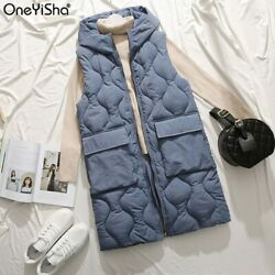 Autumn And Winter New Long Paragraph Over The Knee Hooded Cotton Vest Female