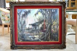 Colette Pope Heldner And039and039swamp Idyland039and039 Original Signed Framed Oil Painting