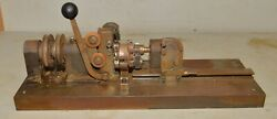 Antique Industrial Factory Spool Winder Gear Driven Cloth Cutting Machine Tool
