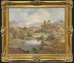 Prudence Turner B.1930 Large Signed Oil - Scottish Highlands Loch And Mountains