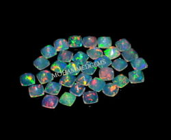 Natural Ethiopian Opal 4x4 Mm Square Cushion Faceted Fire Opal Loose Gemstone
