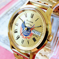 1136 Cool Dial Mens Watch Bulova Good Operation Vintage From Japan Fedex