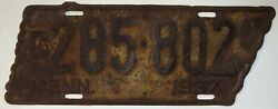 Tennessee Tn State Shaped License Plate Tag 1937 C285-802 H