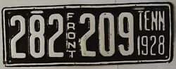Tennessee Tn Vintage License Plate Tag 1928 Front 282-209 H