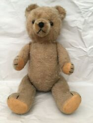 Antique Fully Jointed Mohair Teddy Bear Excelsior Glass Eyes Stitching Growler