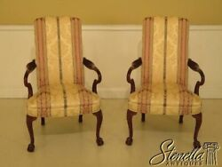 45752ec Pair Hickory Chair Co. Upholstered Mahogany Library Chairs