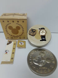 Fossil Mickey Mouse Limited Edition Gold Watch And Coin 354/1000 New In Tin And Box