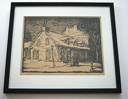 Woodcut Large Old Shop Kingston - Orval Clinton Madden 1892-1971