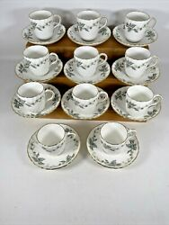 Vintage Set Of 11 Minton England Demitasse Cups And Saucers Greenwich Pattern