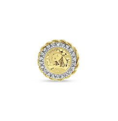 Panda Coin .999 Ring With Diamond Halo And 14k Yellow Gold Nugget Bezel - Vintage