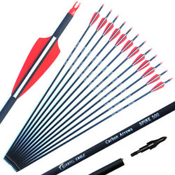 283031carbon Shaft Archery Arrows Tips Target Hunting Compoundbow Recurve Bow