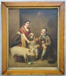 Antique 1800's 19c Oil Painting Portrait Man Drinking Beer With Woman And Pet Pig