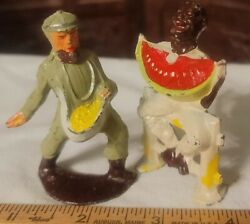 Lot Of 1930and039s Lead Toy Manoil Barclay Usa Happy Farm Series Farmer Figures