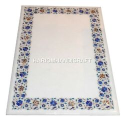 White Marble Dining Table Top Real Lapis Lazuli Mosaic Inlay Floral Design H2475