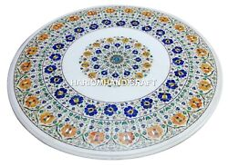Marble Round Coffee Table Top Multi Floral Gemstone Inlaid Room Decorative H2487