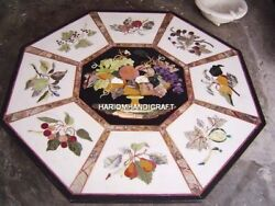 Marble Dining Table Top Varieties Of Fruits Inlay Art With Free Elephant Statue