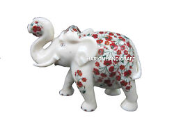 Marble Indian Elephant Trunk Up Statue Carnelian Inlaid Stone Floral Arts H513