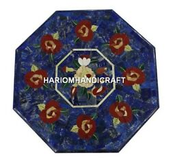 Blue Marble Side Table Top Carnelian Inlaid Floral Mosaic Stone Home Decor H468
