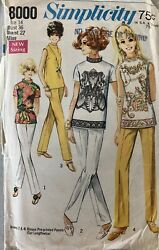 Vintage 1960s Simplicity Pattern 8000 Misses Blouse And Stove Pipe Pants 14 Sewing