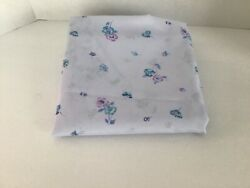 """VTG ? Fabric Silk Like 62""""W x 2 Yards Blue and Purple Floral On Light Lavender"""