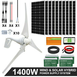 Eco 1400w 1000w 600w Hybrid Wind And Solar Panel Kit Power Supply System For Home