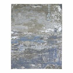 8'x10'1 Blue Wool Farsian Knot With Abstract Design Hand Knotted Rug R66431