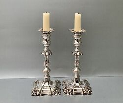 Fine Pair Of 18th C. Georgian George Iii Old Sheffield Plate Candlesticks C1770