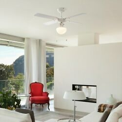 Modern Ceiling Fan White With Light And Beech/white Reversible Blades 42 3 Speed