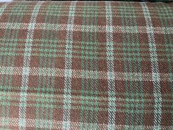 Vintage Fabric Wool Blend Green Brown Plaid By The Yard Fall 1978