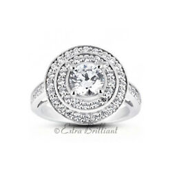 1.12ct H/si1 Round Natural Certified Diamonds 14kw Gold Halo Side-stone Ring