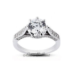 1.43ct H/si1 Round Natural Diamonds 14kw Gold Vintage Style Side-stone Ring
