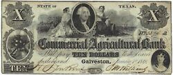 U.s.a. Texas, Commercial And Agricultural Bank, Galveston 10 Jany 1, 1848 Vf