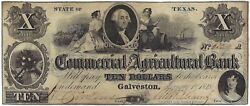 U.s.a. Texas, Commercial And Agricultural Bank, Galveston 10 Jany 1, 1848 Vf/ef