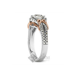 1.94ct D/si2 Round Natural Diamonds 14k Two-tone Gold Vintage Side-stone Ring
