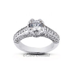 1.04ct F Si2 Round Natural Diamonds Platinum Vintage Style Side-stone Ring